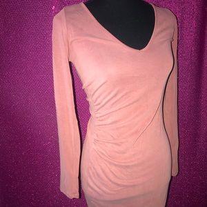 Soft pink dress with side slit